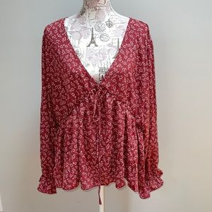 New SHEIN Red Floral Peasant Blouse 5XL